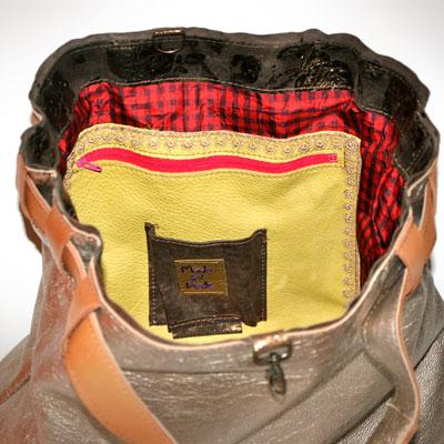 silver leather shoulder bag - silk inside