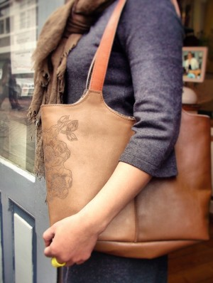 Tattoo leather tote